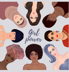 Girl power female diverse faces different vector