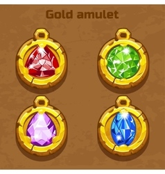 Golden old amulet with color jewels different vector