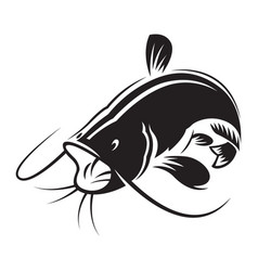 Graphic silhouette catfish open mouth vector