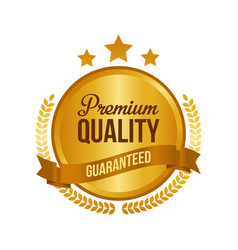 guaranteed premium quality gold sign round label vector image