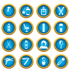 hairdressing icons blue circle set vector image