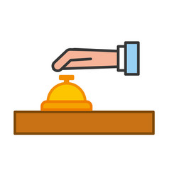 hand human with button bell isolated icon vector image