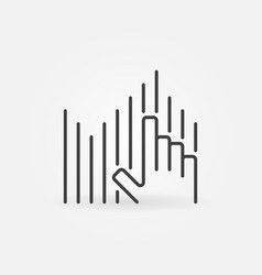 hand wth sound wave outline concept icon vector image