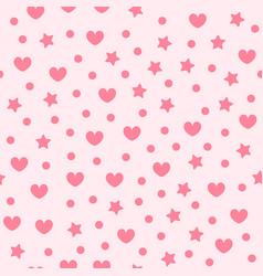 heart pattern with stars and dots seamless vector image