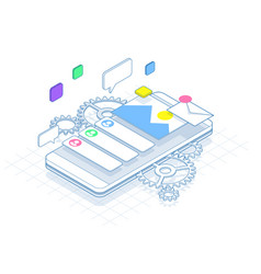 isometric phone with gears cogs and repair vector image