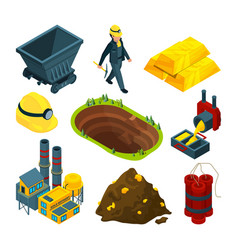 isometric tools for mining industry vector image