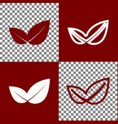 Leaf sign bordo and white vector