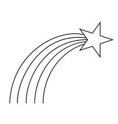 Line art black and white shooting star vector