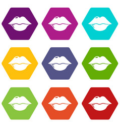lips icons set 9 vector image