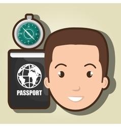 Man compass passport travel vector