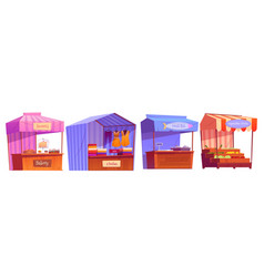 market stalls fair booths kiosk with awning set vector image