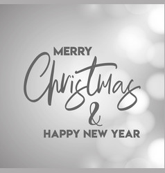 merry christmas and happy new year gray background vector image