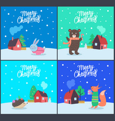 merry christmas greeting cards set animals vector image
