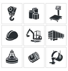 Metallurgy Icons set vector image