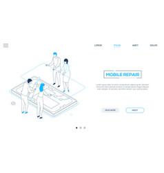 Mobile repair service - line design style vector