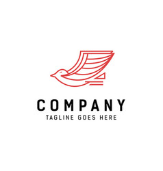 monoline flying bird logo vector image