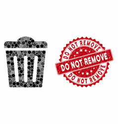 Mosaic trash can with distress do not remove stamp vector
