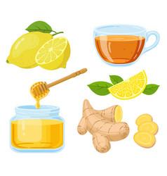 natural cough remedies honey vitamin c lemon vector image