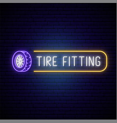 Neon tire fitting signboard glowing tire icon vector