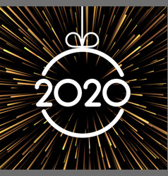 New year 2020 background with golden firework vector