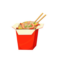Noodles box fast food menu asian chinese meals vector