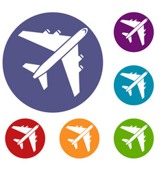 Passenger airliner icons set vector