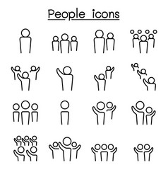 people icon set in thin line style vector image