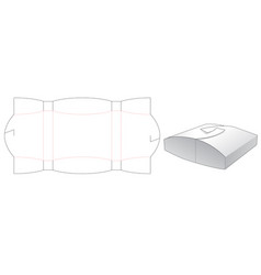 Pillow shaped gift box die cut template vector