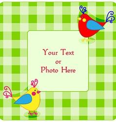 Plaid frame with birdies vector