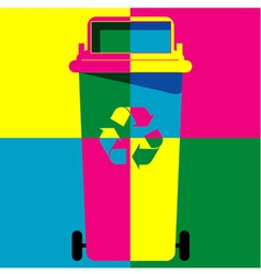 Recycle bin colour art vector