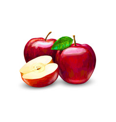 Red apples whole and slices sweet fruit vector