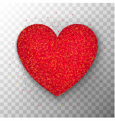 Red glitter heart transparent background vector