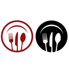 restaurant icons with fork knife plate vector image