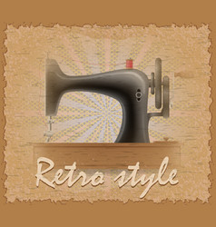 retro style poster old sewing machine vector image