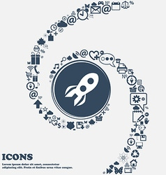 Rocket icon in the center Around the many vector image