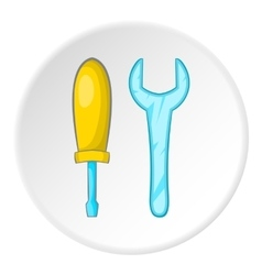 Screwdriver and wrench icon cartoon style vector image