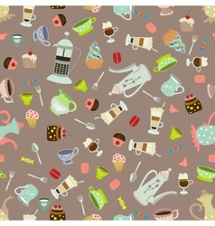 Seamless background with dishes and cakes vector image