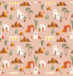 seamless pattern with southern landscape vector image