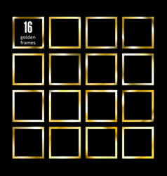 set gold square picture frame on black sixteen vector image