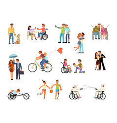 set of disabled people vector image