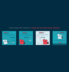 Set of social media post template with video vector