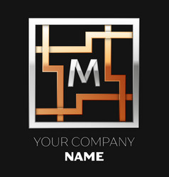 silver letter m logo in silver-golden square maze vector image