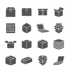 Simple set of box and crates related icons vector