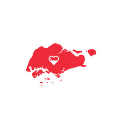 Singapore map flag heart love symbol vector