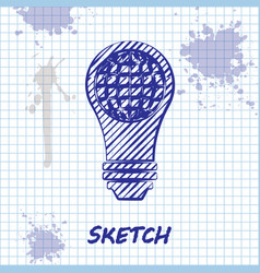 Sketch line light bulb with inside world globe vector