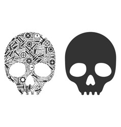 Skull collage of repair tools vector