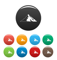 snow mountain icons set color vector image