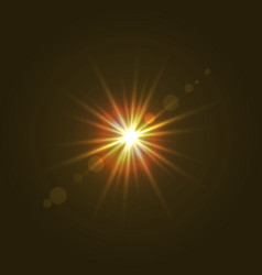 Sun light with lens flare effect vector