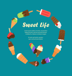 sweet life ice cream banner vector image