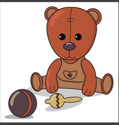 Teddy bear with beanbag ball baby announcement vector